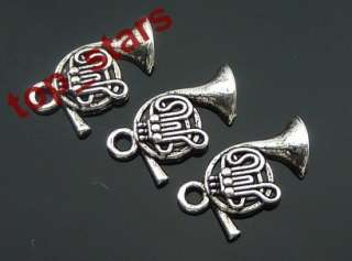 30 pcs Tibetan Silver French horn charms Pendants