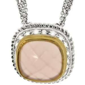 SS/Gold Filled Pink Mother of Pearl & White CZ Necklace Jewelry