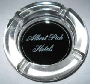 Albert Pick Hotels Clear Glass Ashtray Black Bottom
