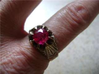 BEAUTIFUL RUBY & ROSE GOLD VICTORIAN LADIES RING