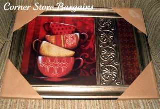 Java COFFEE CUPS FRAMED ART PICTURE WALL PLAQUE CAFE KITCHEN Decor nEW