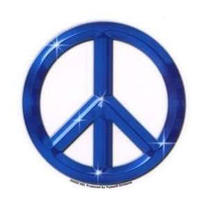 Blue Peace Symbol/Sign Round Car Window Sticker ~ Give Peace a Chance