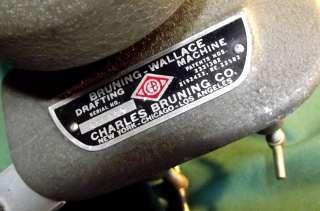 RH 30 CHARLES BRUNING Elbow Drafting Machine + 6 Scales Vintage 1