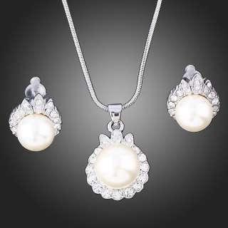ARINNA Swarovski Crystals pearl WGP stud necklace sets