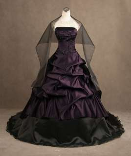 Purple/Black Wedding Dresses Bridal Gown Free Shawl Custom Made 2 4 6