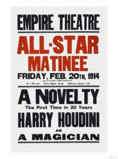 Novelty, The First in 20 Years, Harry Houdini as a Magician Print at