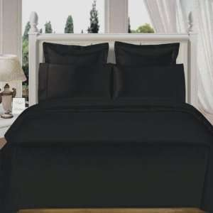 Wrinkle Free 8 PC Queen size Solid Black Microfiber Bed in