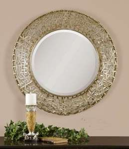 Contemporary Silver Woven Metal Wall Mirror Modern Art Extra Large