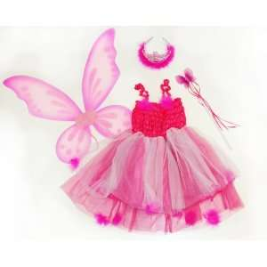 Kids Hot Pink & Fuschia 4 Pc Fairy Pixie Costume with Dress, Wand