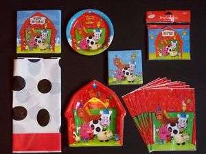 COW and BARNYARD FARM ANIMALS Birthday Party Set Supplies
