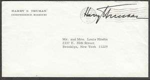 HARRY TRUMAN SIGNED LETTR 1969 W/ ORIG. ENVELOPE BM7384