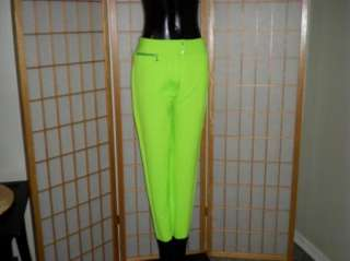 VINTAGE 1989 DOWNHILL RACING SKI PANTS BRIGHT NEON GREEN WOMENS 12