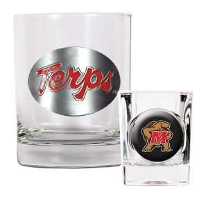 Maryland Terrapins Rocks Glass & Shot Glass Set Sports