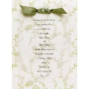 Ashley Green Floral Backer Invitation Kit   Set of 50