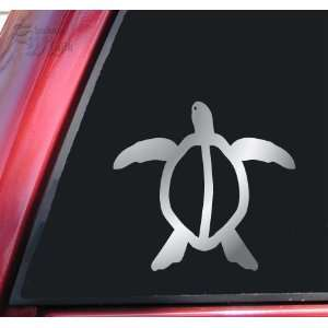 Hawaiian Honu Sea Turtle Vinyl Decal Sticker   Shiny Chrome