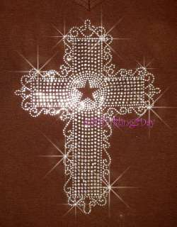 WESTERN STAR CROSS RHINESTONE IRON ON TRANSFER BLING