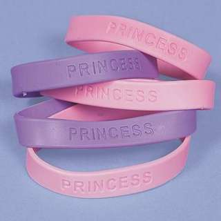 party favors new set of 12 new pink and purple princess bracelets each