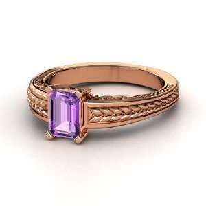 Cut Ceres Ring, Emerald Cut Amethyst 14K Rose Gold Ring Jewelry