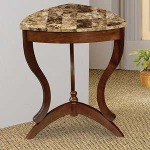 Wildon Home Ferron Faux Marble Top Side Table in Cherry Furniture