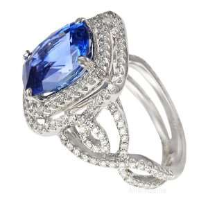 Fabulous Blue Sapphire & Pave Diamond Gemstone Ring in 18kt white gold