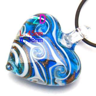 G3001 Murano Lampwork Glass Heart Gold Pendant Necklace