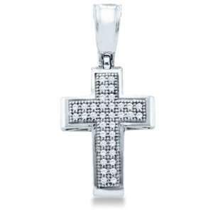 Gold Round Cut Pave Set Diamond Cross Pendant (1/10 cttw) Jewelry