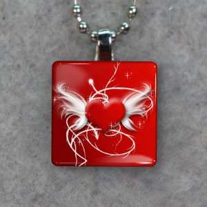 Winged Heart Small Glass Tile Necklace Pendant 985