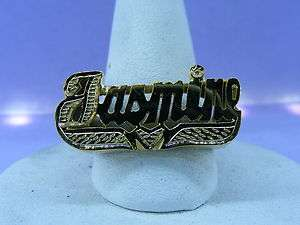 PERSONALIZED 14K GOLD PLATED FLAT NAME RING W/ HREAT ANY NAME UP TO 7