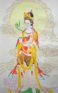 Chinese Scroll Kwan Yin Wall Art Home Decor Painting