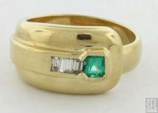 18K YELLOW GOLD 0.45CT VS1/H DIAMOND EMERALD COCKTAIL RING
