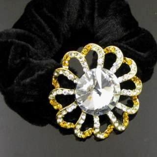 SHIPPING 1pc rhinestone crystal flower hair scrunchie ponytai