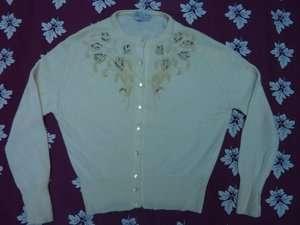 Cashmere Pearl Beaded & Crystal Rhinestone Cardigan Sweater M