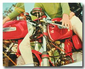 ITALIAN POST CARDS COUPLE ON AERMACCHI HARLEY DAVIDSON SPRINT