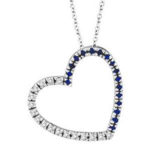 Natural Blue Sapphire & Diamond Heart Pendant Necklace 14k White Gold