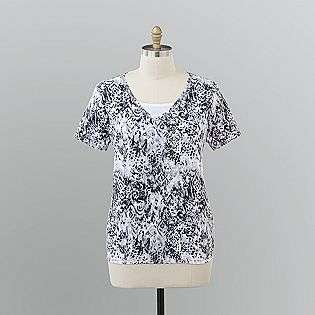 Plus Printed Knit T Shirt  Basic Editions Clothing Womens Plus Tops