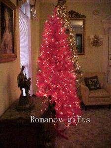 Art Deco Pink Designer Alaska Christmas Tree 7 Ft. Pre lit with hinged