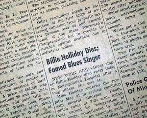 BILLIE HOLIDAY DEATH Lady Day Jazz Blues Singer 1959 Newspaper