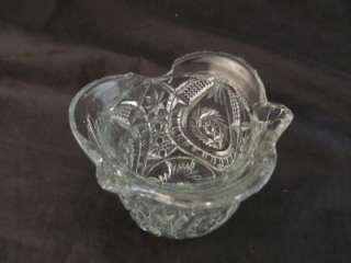 Set Pressed Glass Miniatures Sterling Thongs Creamer Sugar Butter Ice