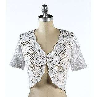 White Crochet Shrug  R&K Originals Clothing Womens Sweaters