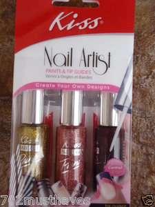Kiss NAIL ARTIST PAINT & STENCIL KIT •Tip Guides & Rhinestones (Nail