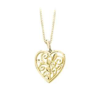 14K Yellow Gold Heart Shaped Leaf and Scroll Design Filigree Pendant