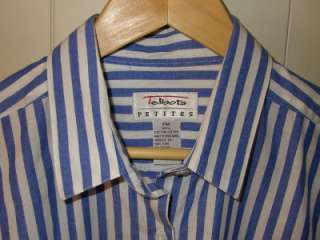 Talbots Blue and White Stripe Shirt Womens Size PM