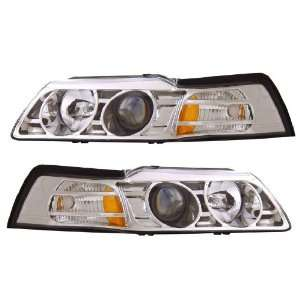 FORD MUSTANG 99 04 PROJECTOR HEADLIGHT CHROME CLEAR AMBER