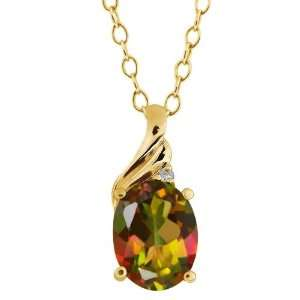 31 Ct Oval Mango Mystic Topaz and Topaz Yellow Gold Plated Silver
