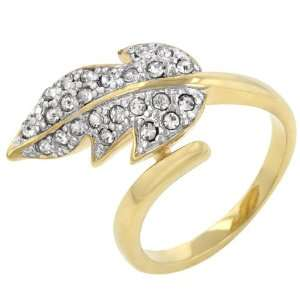 14k Gold Bonded Round Cut Clear Crystal Cocktail Ring Jewelry