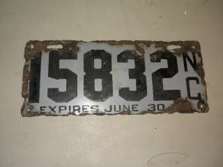 NC North Carolina Porcelain License Plate TAG SIGN 1916