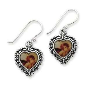 Sterling Silver Enameled Heart shaped Angel Earrings Jewelry