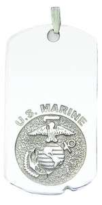 Silver, 10k or 14k Gold US Marine Corps Dog Tag Military Pendant Charm