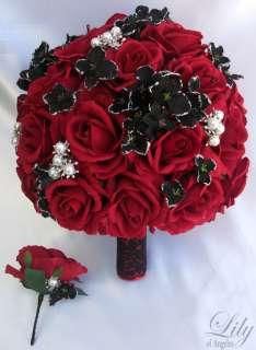 2pcs Wedding Bridal Bride Bouquet Groom Boutonniere Gem Jewelry Jewel