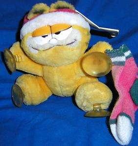 Christmas Santa Garfield STUFF IT Window Cling Hang On Plush Cat w/Tag